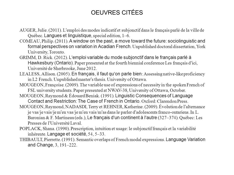 OEUVRES CITÉES AUGER, Julie. (2011). L emploi des modes indicatif et subjonctif dans le français parlé de la ville de Québec. Langues et linguistique,