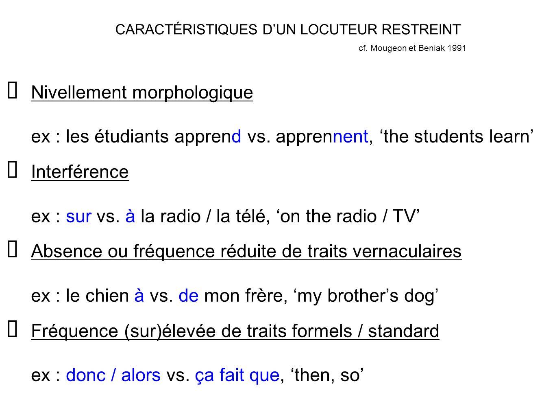CARACTÉRISTIQUES DUN LOCUTEUR RESTREINT Nivellement morphologique ex : les étudiants apprend vs. apprennent, the students learn Interférence ex : sur