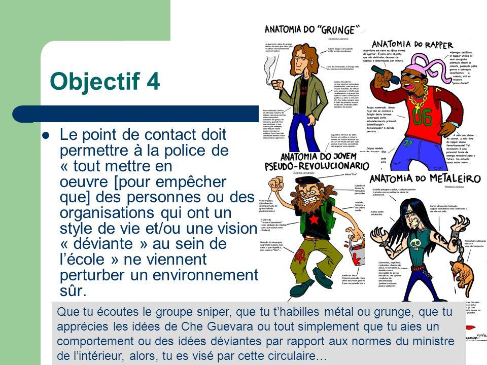 Objectif 4 Le point de contact doit permettre à la police de « tout mettre en oeuvre [pour empêcher que] des personnes ou des organisations qui ont un style de vie et/ou une vision « déviante » au sein de lécole » ne viennent perturber un environnement sûr.
