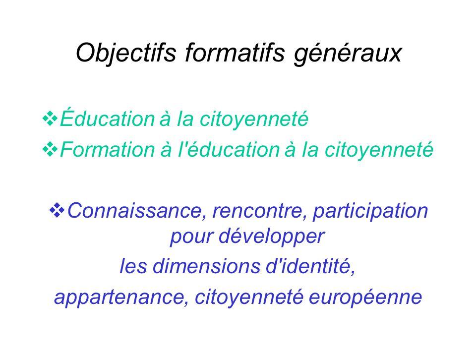 Objectifs formatifs généraux Éducation à la citoyenneté Formation à l éducation à la citoyenneté Connaissance, rencontre, participation pour développer les dimensions d identité, appartenance, citoyenneté européenne