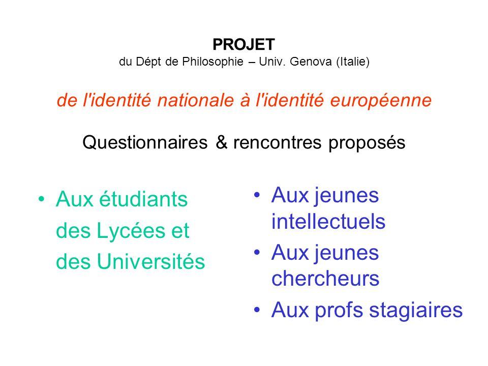 Aux étudiants des Lycées et des Universités Aux jeunes intellectuels Aux jeunes chercheurs Aux profs stagiaires