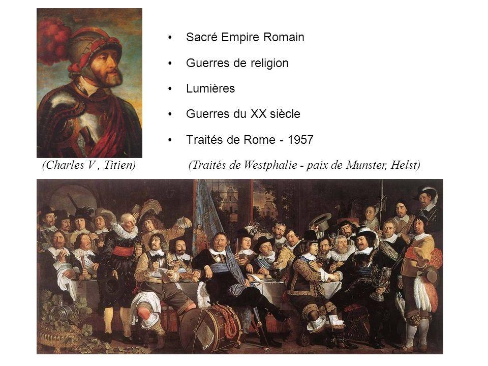 Sacré Empire Romain Guerres de religion Lumières Guerres du XX siècle Traités de Rome - 1957 (Charles V, Titien) (Traités de Westphalie - paix de Munster, Helst)