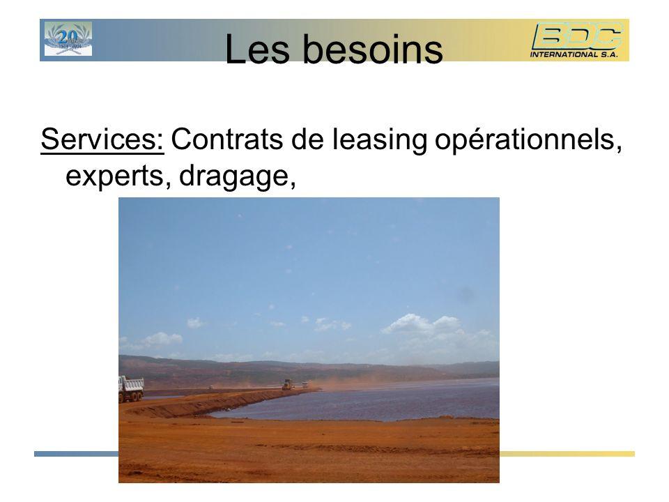 Les besoins Services: Contrats de leasing opérationnels, experts, dragage,