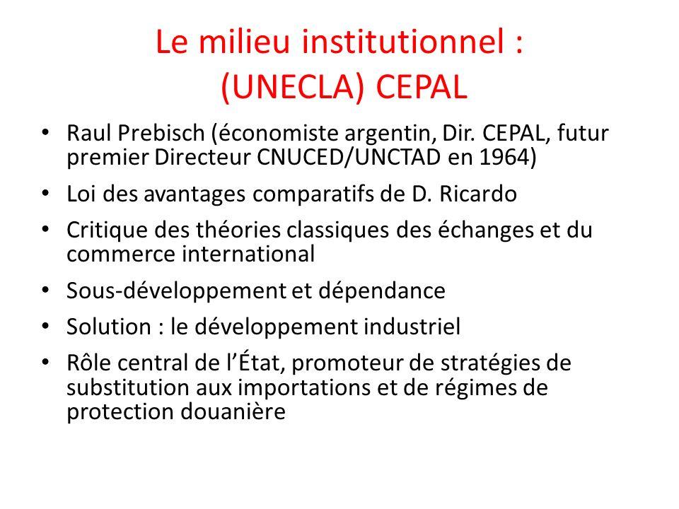 Le milieu institutionnel : (UNECLA) CEPAL Raul Prebisch (économiste argentin, Dir.