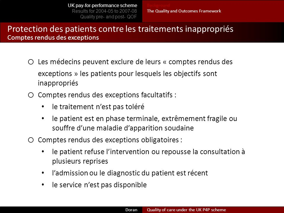 Protection des patients contre les traitements inappropriés Comptes rendus des exceptions Doran Quality of care under the UK P4P scheme UK pay-for-per