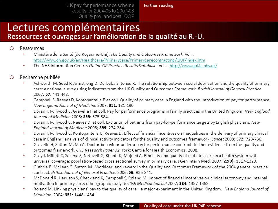 Lectures complémentaires Ressources et ouvrages sur lamélioration de la qualité au R.-U.