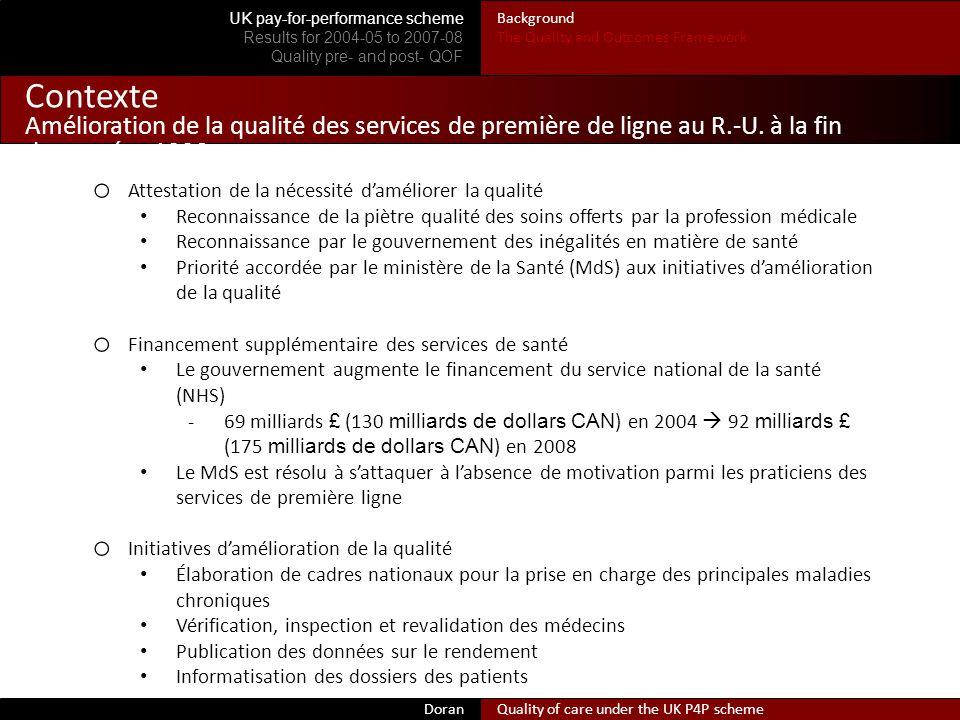 Contexte Amélioration de la qualité des services de première de ligne au R.-U.