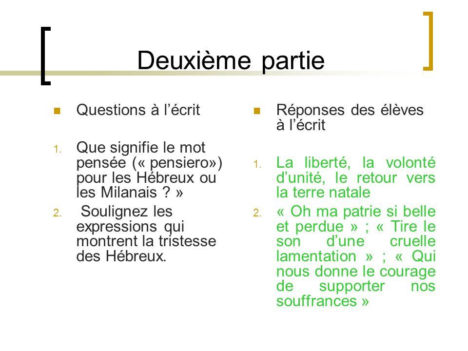Deuxième partie Questions à lécrit 1. Que signifie le mot pensée (« pensiero») pour les Hébreux ou les Milanais ? » 2. Soulignez les expressions qui m