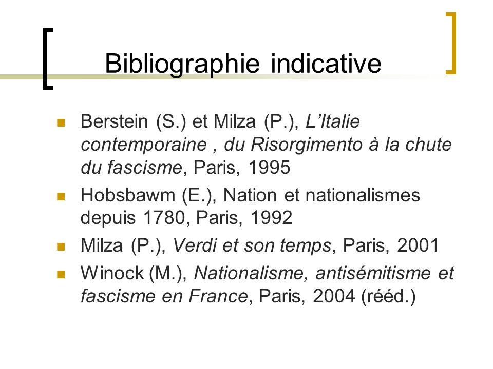 Bibliographie indicative Berstein (S.) et Milza (P.), LItalie contemporaine, du Risorgimento à la chute du fascisme, Paris, 1995 Hobsbawm (E.), Nation