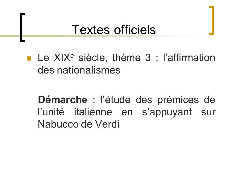 Textes officiels Le XIX e siècle, thème 3 : laffirmation des nationalismes Démarche : létude des prémices de lunité italienne en sappuyant sur Nabucco