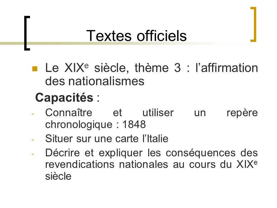 Textes officiels Le XIX e siècle, thème 3 : laffirmation des nationalismes Capacités : - Connaître et utiliser un repère chronologique : 1848 - Situer