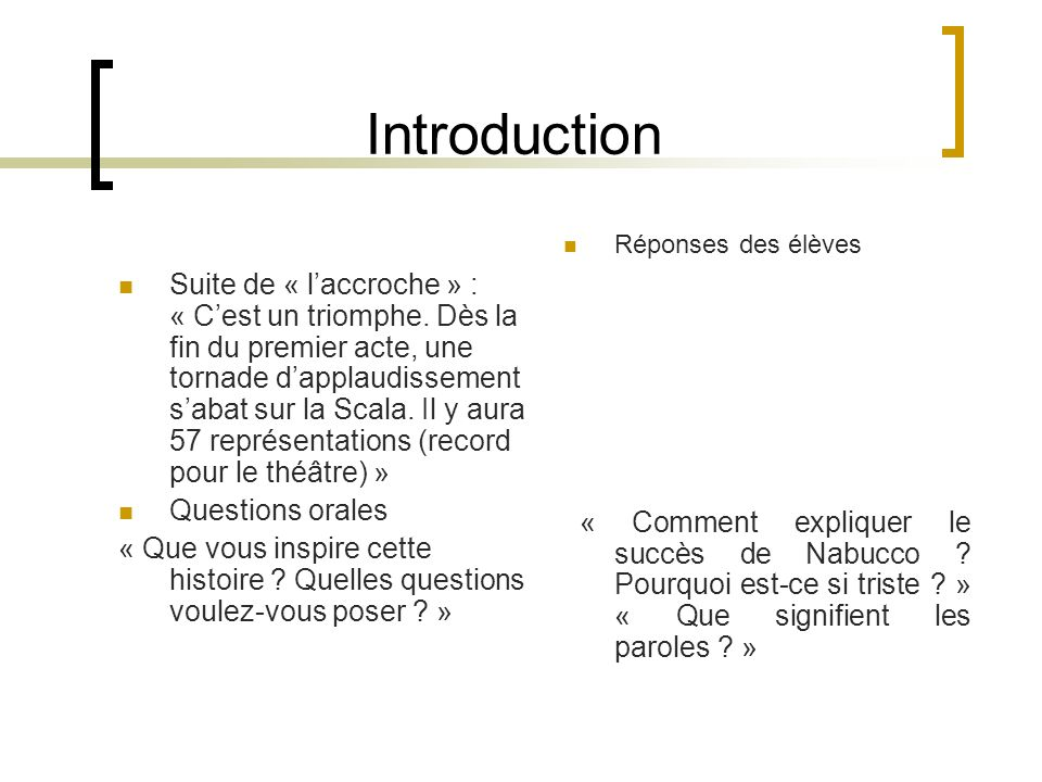 Introduction Suite de « laccroche » : « Cest un triomphe.
