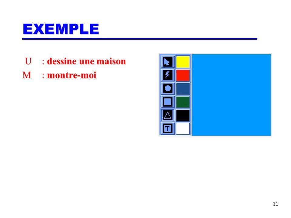 11 U: dessine une maison U: dessine une maison M: montre-moi EXEMPLE