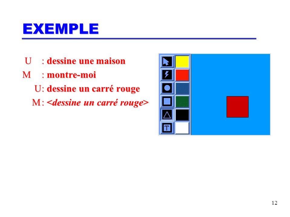 12 U: dessine une maison U: dessine une maison M: montre-moi U: dessine un carré rouge U: dessine un carré rouge M: M: EXEMPLE