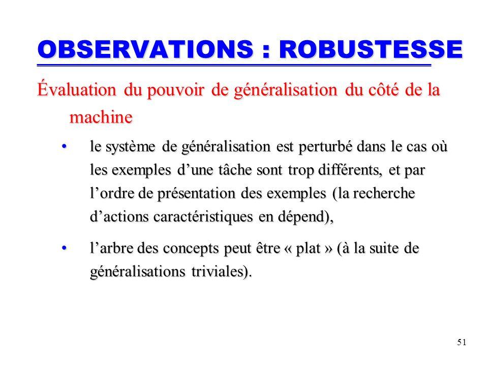 51 OBSERVATIONS : ROBUSTESSE Évaluation du pouvoir de généralisation du côté de la machine le système de généralisation est perturbé dans le cas où les exemples dune tâche sont trop différents, et par lordre de présentation des exemples (la recherche dactions caractéristiques en dépend),le système de généralisation est perturbé dans le cas où les exemples dune tâche sont trop différents, et par lordre de présentation des exemples (la recherche dactions caractéristiques en dépend), larbre des concepts peut être « plat » (à la suite de généralisations triviales).larbre des concepts peut être « plat » (à la suite de généralisations triviales).
