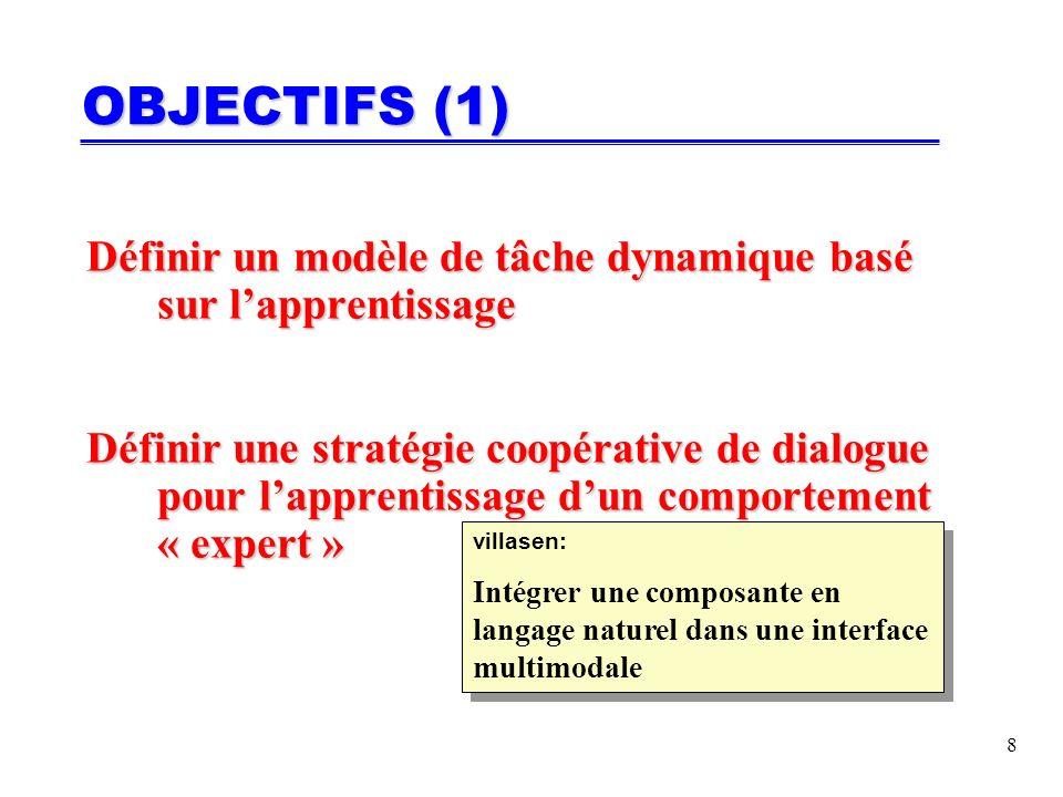 8 OBJECTIFS (1) Définir un modèle de tâche dynamique basé sur lapprentissage Définir une stratégie coopérative de dialogue pour lapprentissage dun comportement « expert » villasen: Intégrer une composante en langage naturel dans une interface multimodale villasen: Intégrer une composante en langage naturel dans une interface multimodale