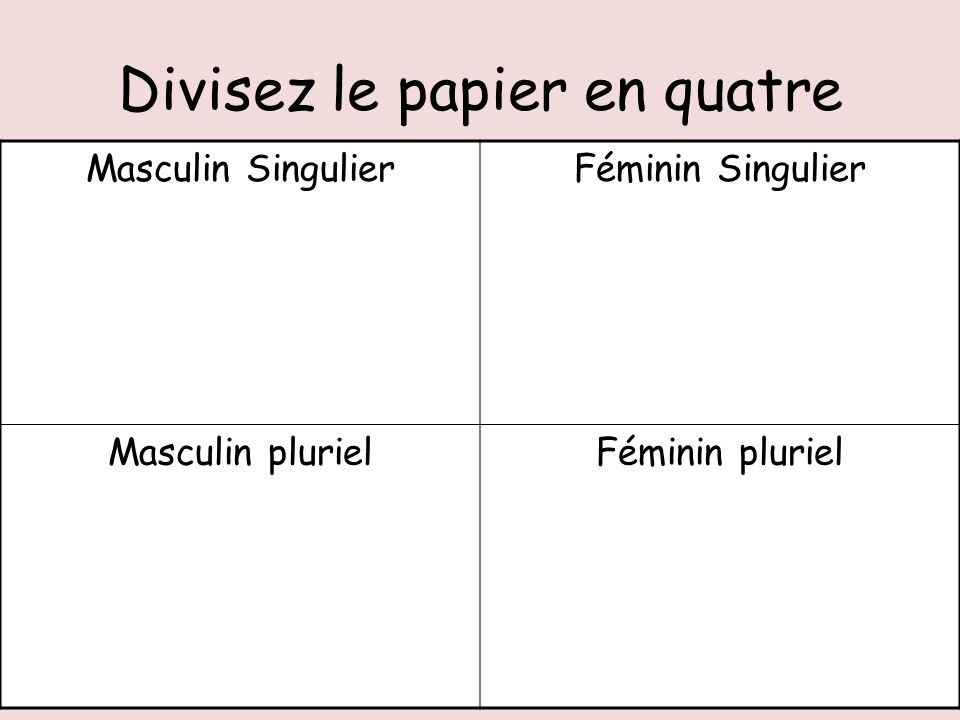 Adjectives in French are spelt more than one way depending on if they are: Feminine Singular e.g. une règle blanche Feminine Plural e.g. trois règles
