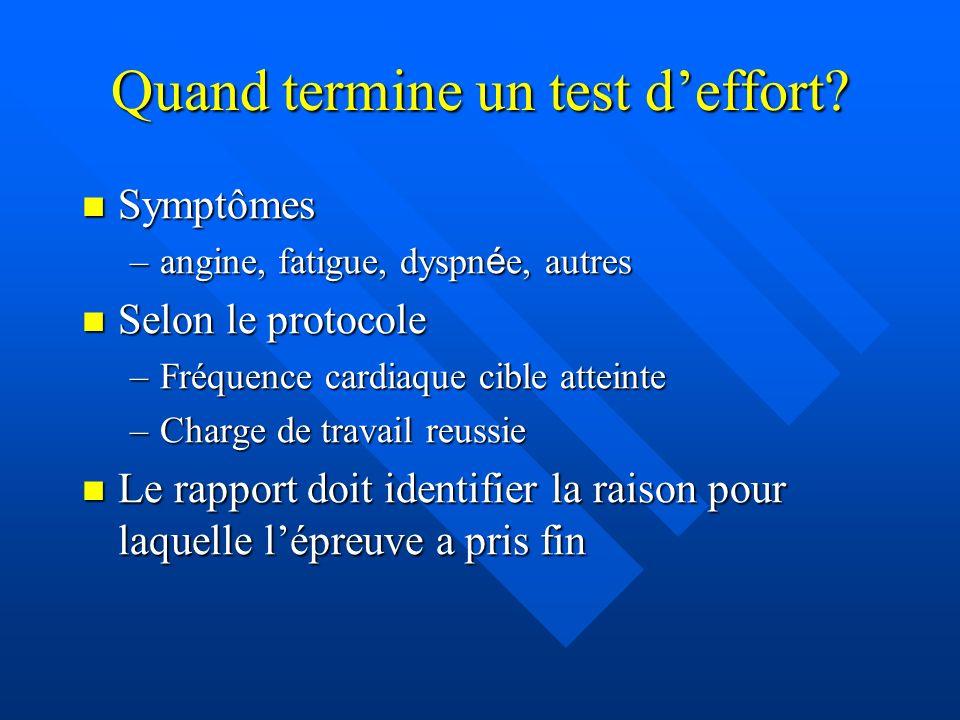 Quand termine un test deffort? Symptômes Symptômes –angine, fatigue, dyspn é e, autres Selon le protocole Selon le protocole –Fréquence cardiaque cibl