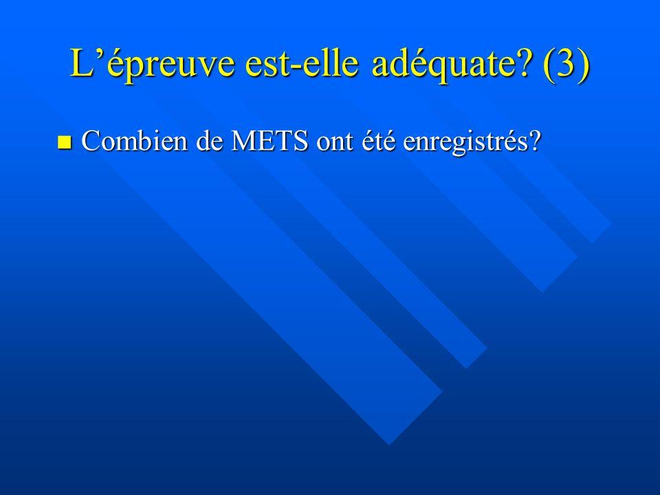 Lépreuve est-elle adéquate? (3) Combien de METS ont été enregistrés? Combien de METS ont été enregistrés?