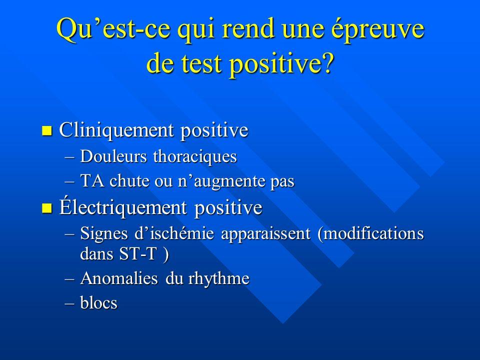 Quest-ce qui rend une épreuve de test positive? Cliniquement positive Cliniquement positive –Douleurs thoraciques –TA chute ou naugmente pas Électriqu