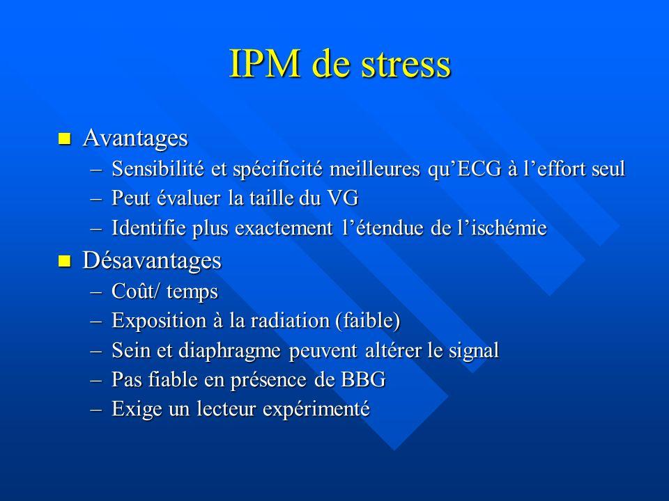IPM de stress Avantages Avantages –Sensibilité et spécificité meilleures quECG à leffort seul –Peut évaluer la taille du VG –Identifie plus exactement