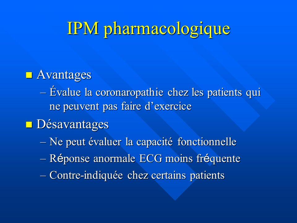 IPM pharmacologique Avantages Avantages –Évalue la coronaropathie chez les patients qui ne peuvent pas faire dexercice Désavantages Désavantages –Ne p