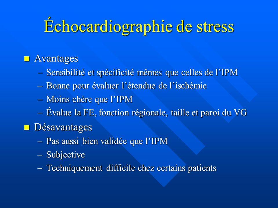 Échocardiographie de stress Avantages Avantages –Sensibilité et spécificité mêmes que celles de lIPM –Bonne pour évaluer létendue de lischémie –Moins