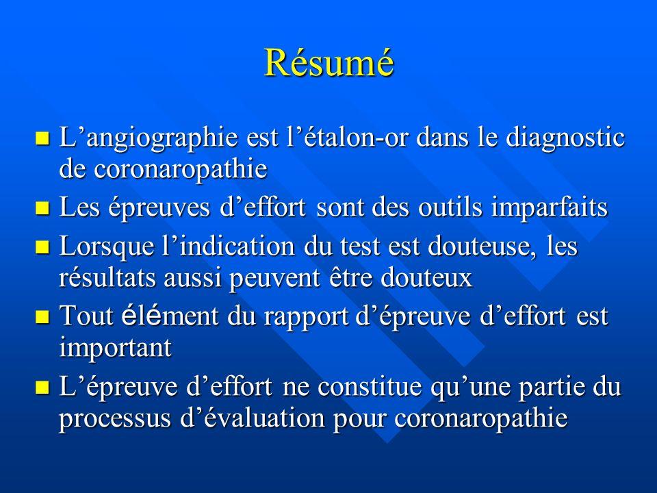 Résumé Langiographie est létalon-or dans le diagnostic de coronaropathie Langiographie est létalon-or dans le diagnostic de coronaropathie Les épreuve