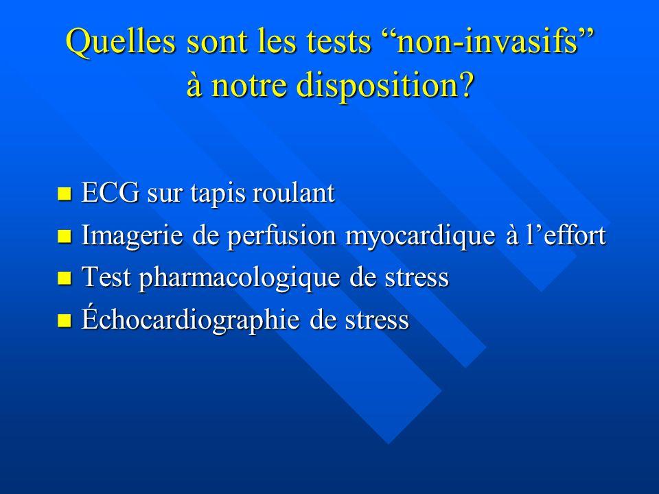 Quelles sont les tests non-invasifs à notre disposition? ECG sur tapis roulant ECG sur tapis roulant Imagerie de perfusion myocardique à leffort Image