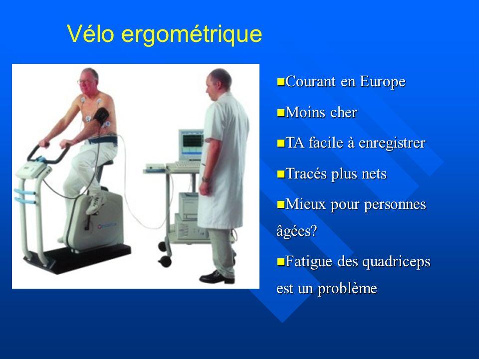 Vélo ergométrique Courant en Europe Courant en Europe Moins cher Moins cher TA facile à enregistrer TA facile à enregistrer Tracés plus nets Tracés pl
