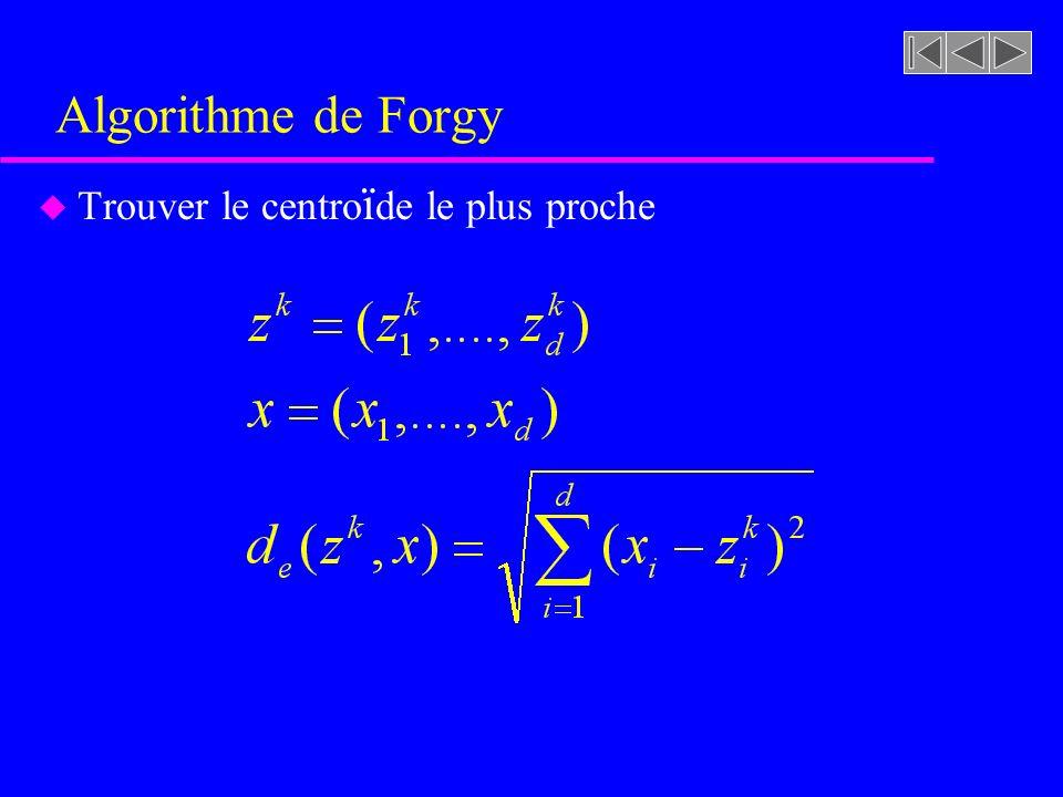Algorithme de Forgy u Trouver le centro ï de le plus proche