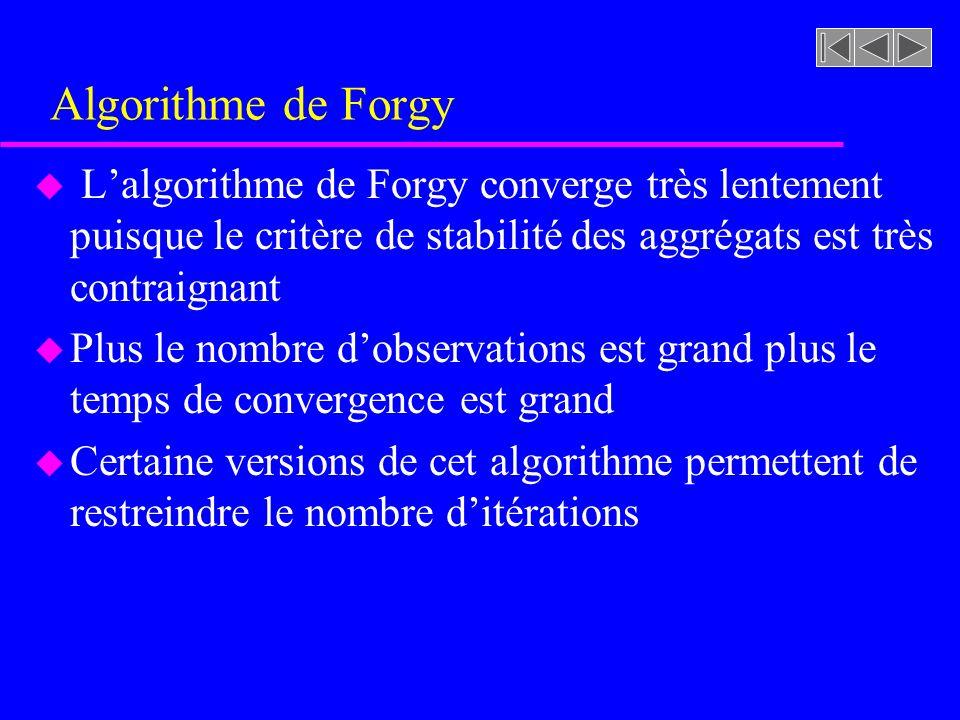 Algorithme de Forgy u Lalgorithme de Forgy converge très lentement puisque le critère de stabilité des aggrégats est très contraignant u Plus le nombre dobservations est grand plus le temps de convergence est grand u Certaine versions de cet algorithme permettent de restreindre le nombre ditérations