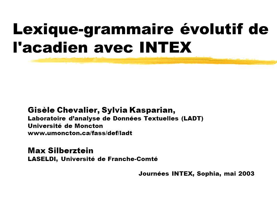 Objectif zLobjectif de ce projet de recherche est de développer loutil INTEX pour décrire les parlers acadiens et chiac, en particulier les transferts linguistiques entre le français acadien et langlais dune part, et dautre part, les transferts entre les variétés acadiennes et les variétés qui lui servent de référence, les français hexagonal et québécois.