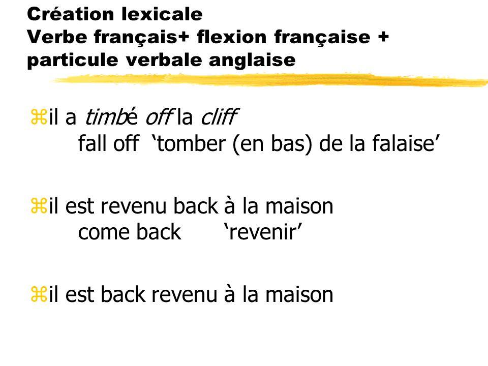 Création lexicale Verbe français+ flexion française + particule verbale anglaise zil a timbé off la cliff fall off tomber (en bas) de la falaise zil e