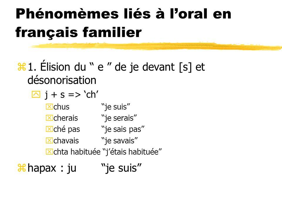 Phénomèmes liés à loral en français familier z1. Élision du e de je devant [s] et désonorisation y j + s => ch xchusje suis xcheraisje serais xché pas