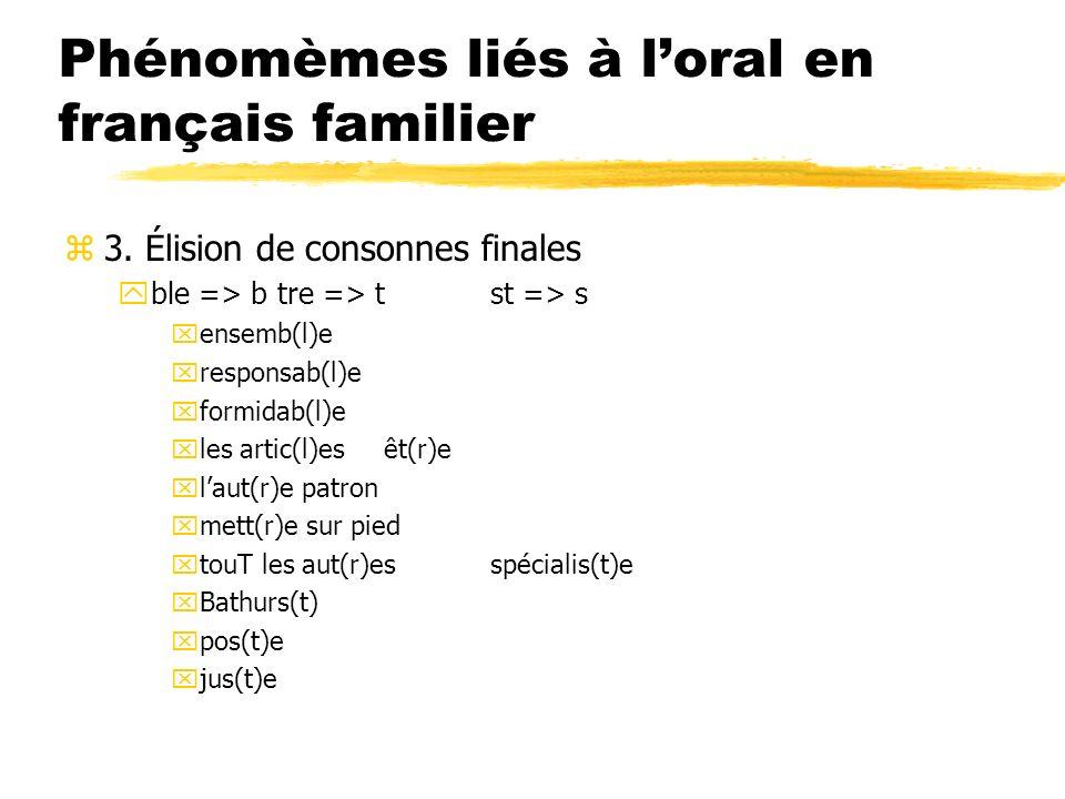 Phénomèmes liés à loral en français familier z3. Élision de consonnes finales yble => btre => tst => s xensemb(l)e xresponsab(l)e xformidab(l)e xles a