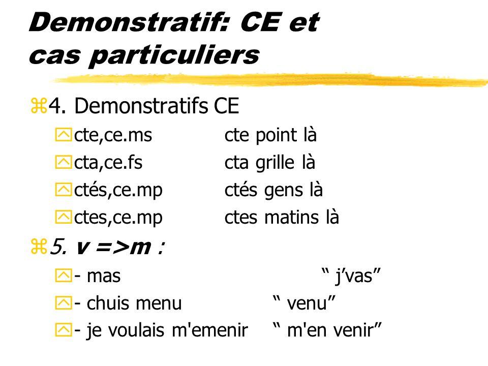 Demonstratif: CE et cas particuliers z4. Demonstratifs CE ycte,ce.mscte point là ycta,ce.fscta grille là yctés,ce.mpctés gens là yctes,ce.mpctes matin