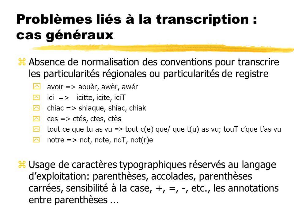 Problèmes liés à la transcription : cas généraux zAbsence de normalisation des conventions pour transcrire les particularités régionales ou particular