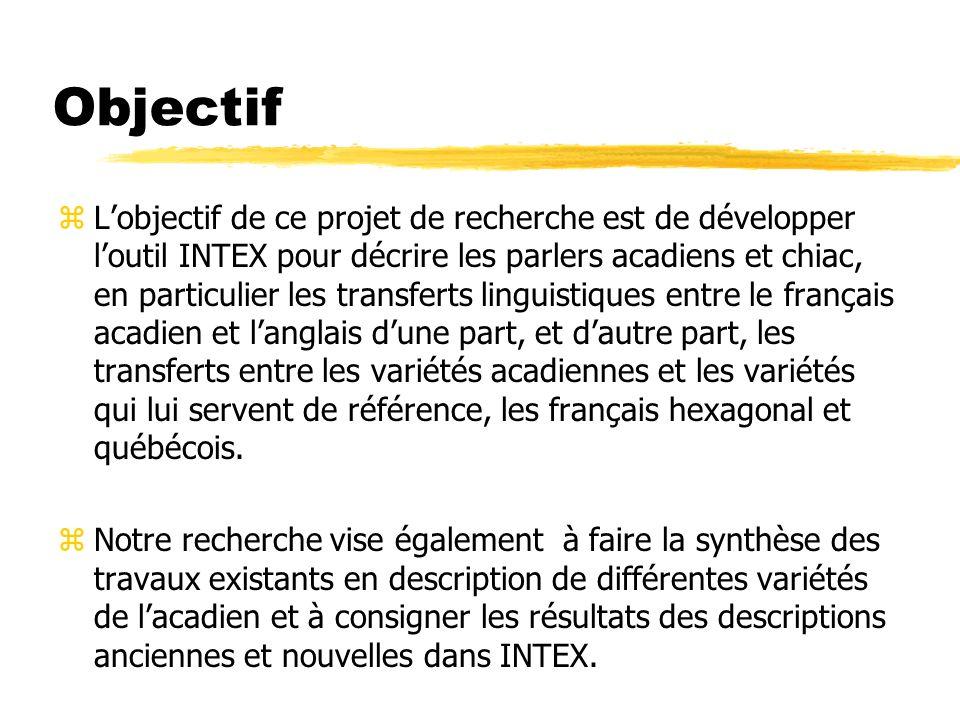 Objectif zLobjectif de ce projet de recherche est de développer loutil INTEX pour décrire les parlers acadiens et chiac, en particulier les transferts