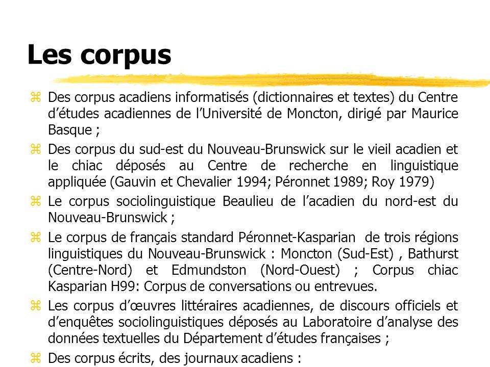 Les corpus zDes corpus acadiens informatisés (dictionnaires et textes) du Centre détudes acadiennes de lUniversité de Moncton, dirigé par Maurice Basq