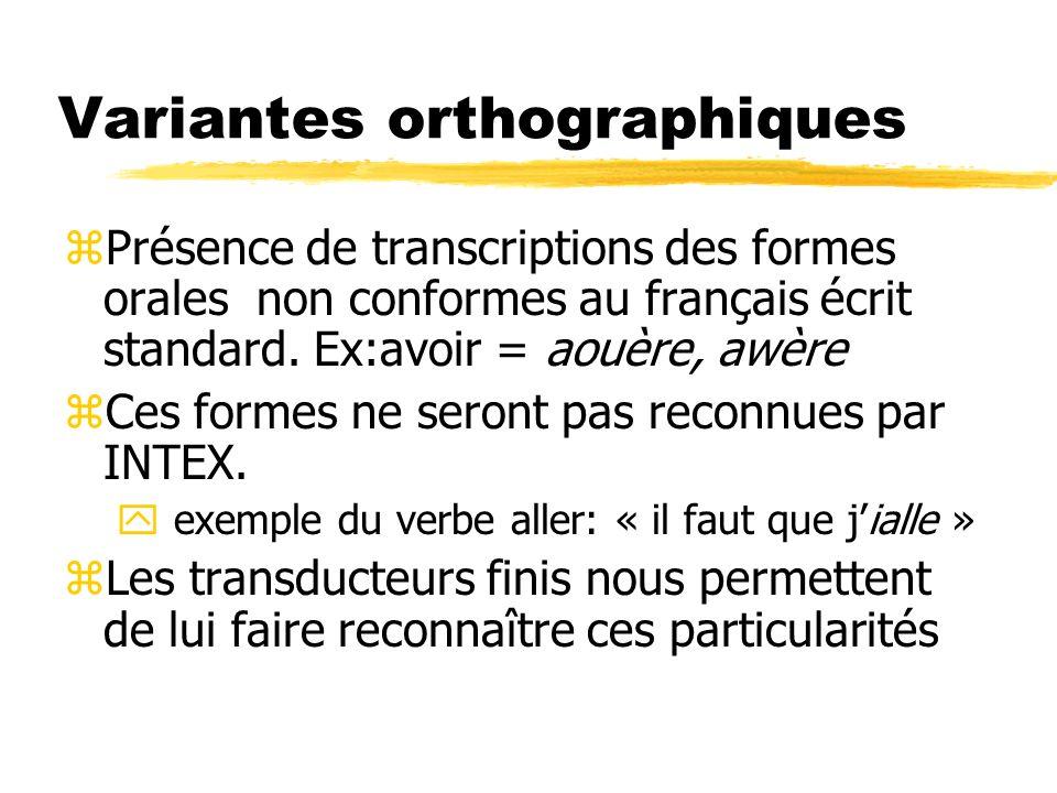 Variantes orthographiques zPrésence de transcriptions des formes orales non conformes au français écrit standard. Ex:avoir = aouère, awère zCes formes
