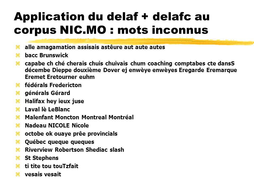 Application du delaf + delafc au corpus NIC.MO : mots inconnus zalle amagamation assisais astêure aut aute autes zbacc Brunswick zcapabe ch ché cherai