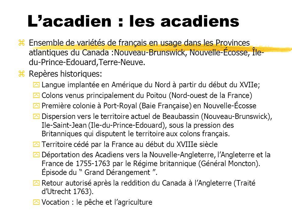Lacadien : les acadiens zEnsemble de variétés de français en usage dans les Provinces atlantiques du Canada :Nouveau-Brunswick, Nouvelle-Écosse, Île-
