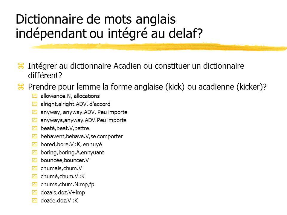 Dictionnaire de mots anglais indépendant ou intégré au delaf? zIntégrer au dictionnaire Acadien ou constituer un dictionnaire différent? zPrendre pour