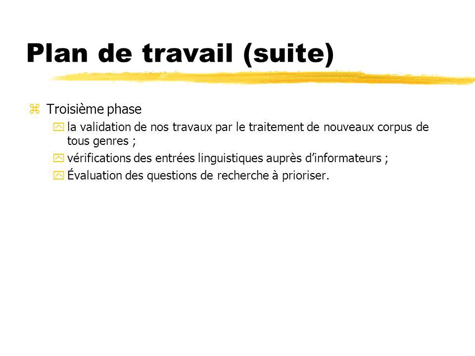 Plan de travail (suite) zTroisième phase yla validation de nos travaux par le traitement de nouveaux corpus de tous genres ; yvérifications des entrée