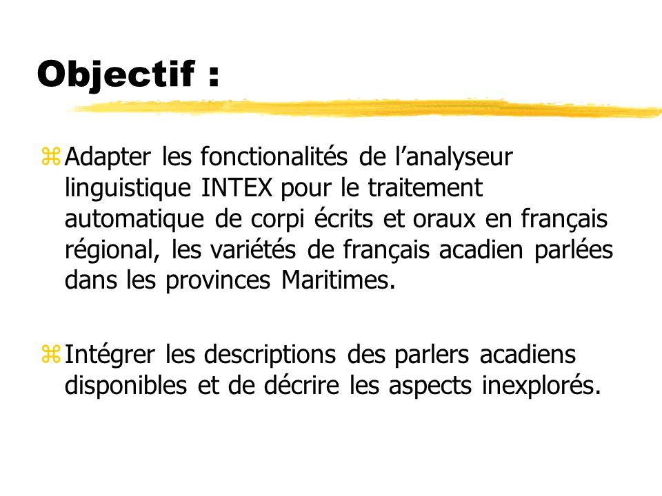 Objectif : zAdapter les fonctionalités de lanalyseur linguistique INTEX pour le traitement automatique de corpi écrits et oraux en français régional,