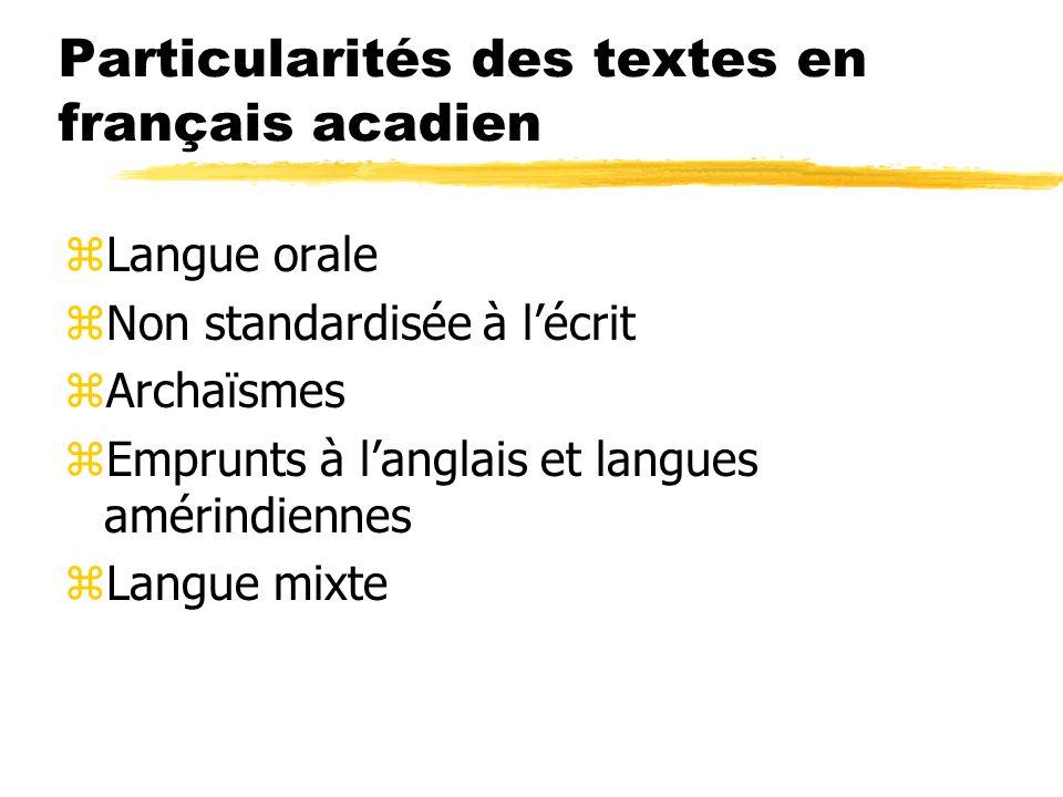 Particularités des textes en français acadien zLangue orale zNon standardisée à lécrit zArchaïsmes zEmprunts à langlais et langues amérindiennes zLang