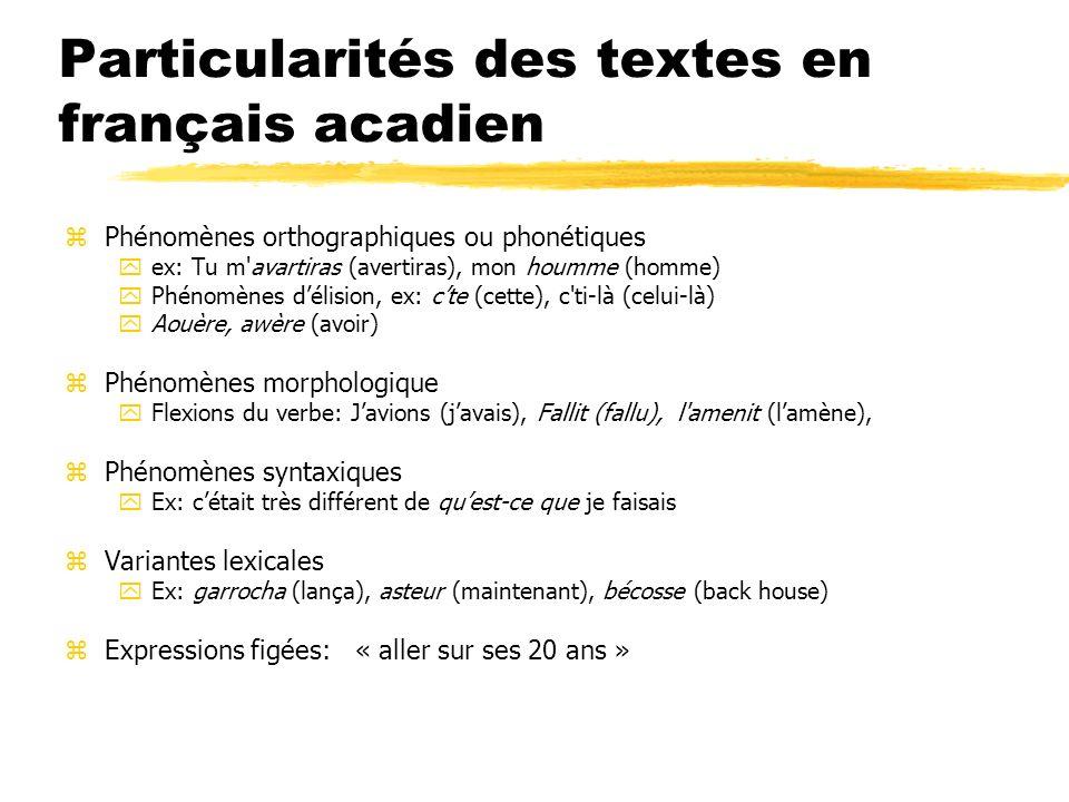 Particularités des textes en français acadien zPhénomènes orthographiques ou phonétiques yex: Tu m'avartiras (avertiras), mon houmme (homme) yPhénomèn
