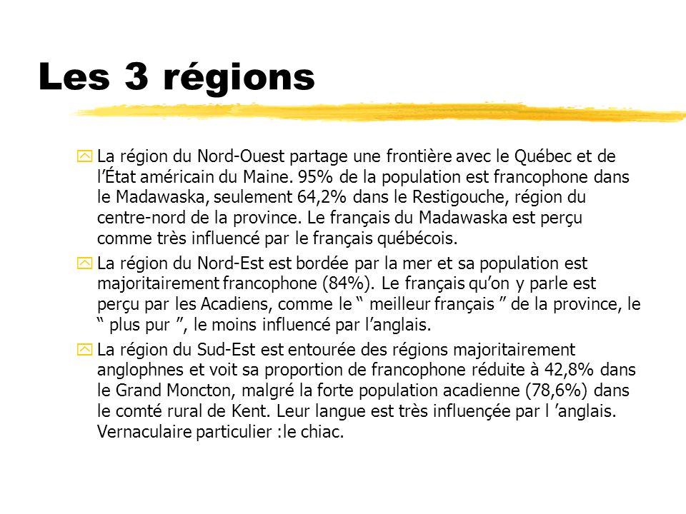 Les 3 régions yLa région du Nord-Ouest partage une frontière avec le Québec et de lÉtat américain du Maine. 95% de la population est francophone dans