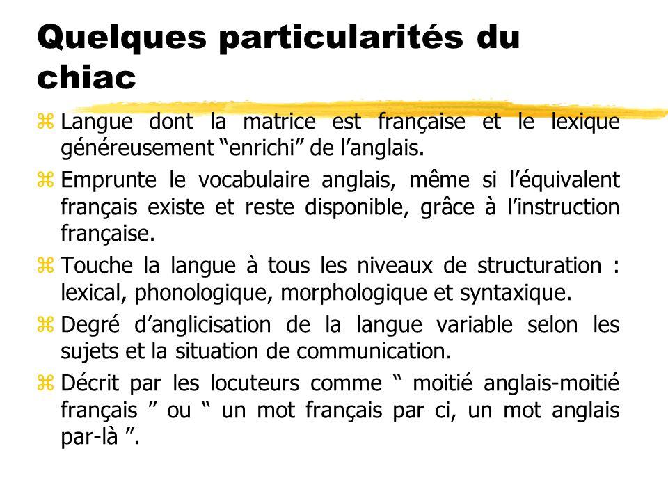 Quelques particularités du chiac zLangue dont la matrice est française et le lexique généreusement enrichi de langlais. zEmprunte le vocabulaire angla